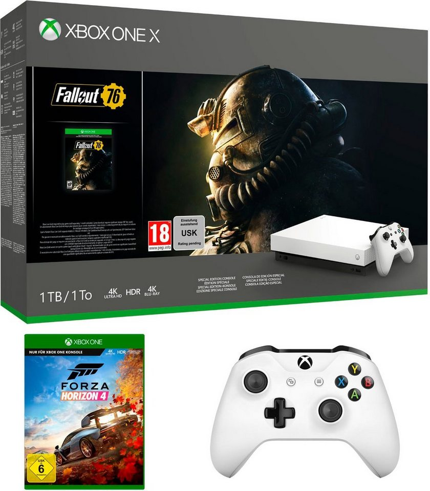 xbox one x 1tb bundle inkl fallout 76 robot white. Black Bedroom Furniture Sets. Home Design Ideas