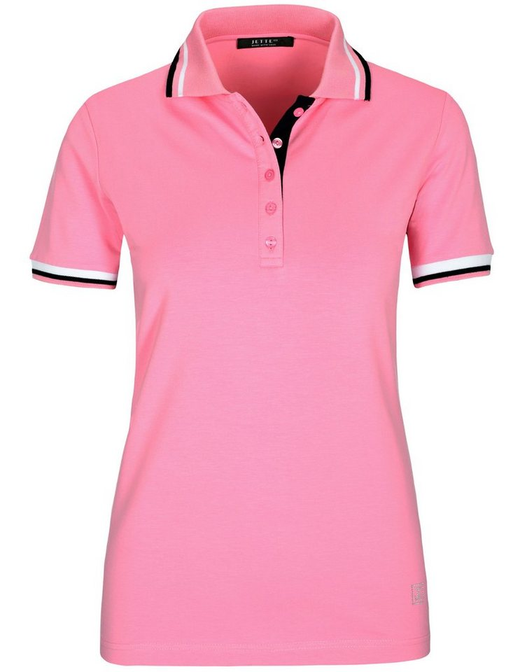 JETTE Poloshirt mit Strass-Applikation | Bekleidung > Shirts > Poloshirts | Rosa | Modal - Baumwolle - Elasthan | JETTE