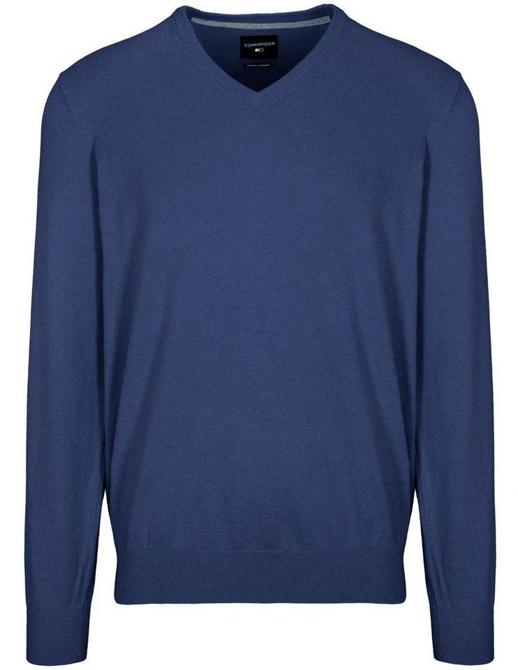commander -  V-Ausschnitt-Pullover mit V-Ausschnitt