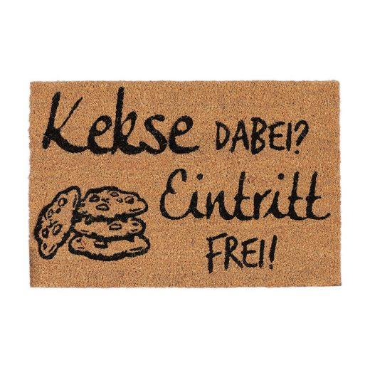 Fußmatte »Kokosmatte Kekse Dabei? Eintritt Frei!«, relaxdays, Höhe 15 mm