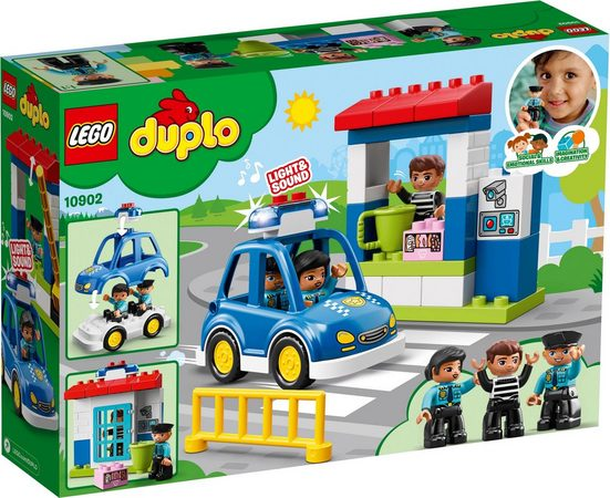 LEGO® Konstruktionsspielsteine »Polizeistation (10902), LEGO® DUPLO™«, Kunststoff, (38 St), mit Licht- und Geräuscheffekten