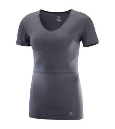 Salomon Laufshirt »Salomon Elevate Move On Funktions-Shirt leichtes Damen Lauf T-Shirt Outdoor-Shirt Dunkelgrau«