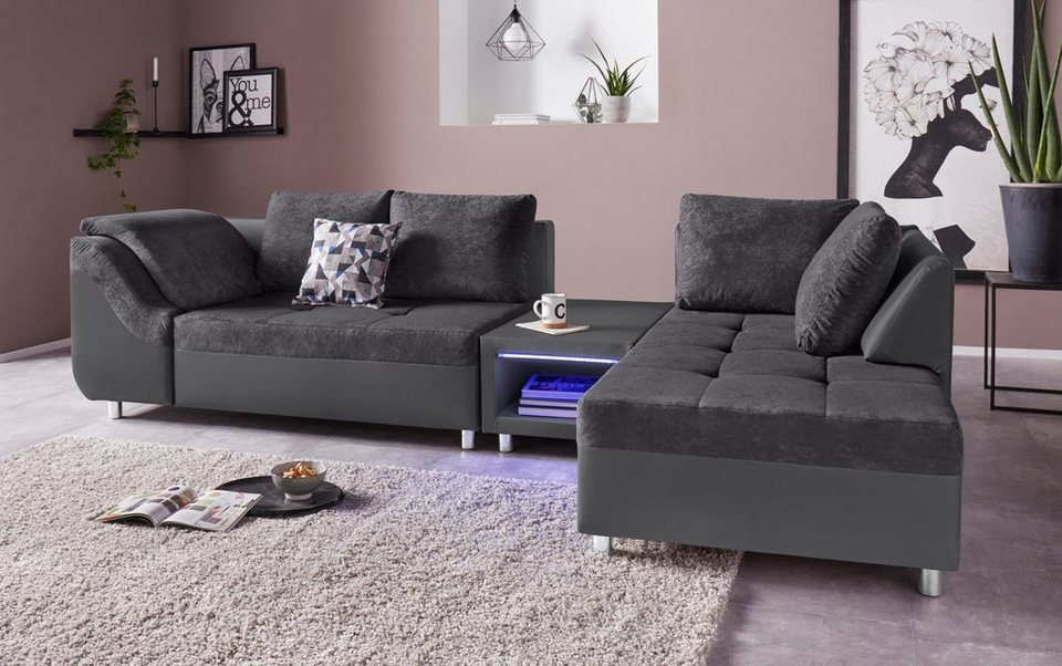 collection ab ecksofa inklusive couchtisch und led. Black Bedroom Furniture Sets. Home Design Ideas