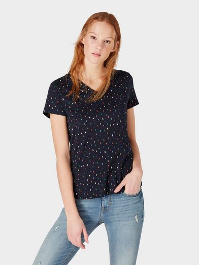 TOM TAILOR Denim T-Shirt »Gemustertes T-Shirt mit V-Ausschnitt «
