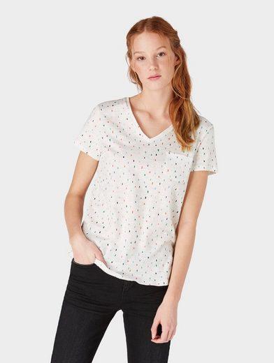 TOM TAILOR Denim T-Shirt »Gemustertes T-Shirt mit V-Ausschnitt«