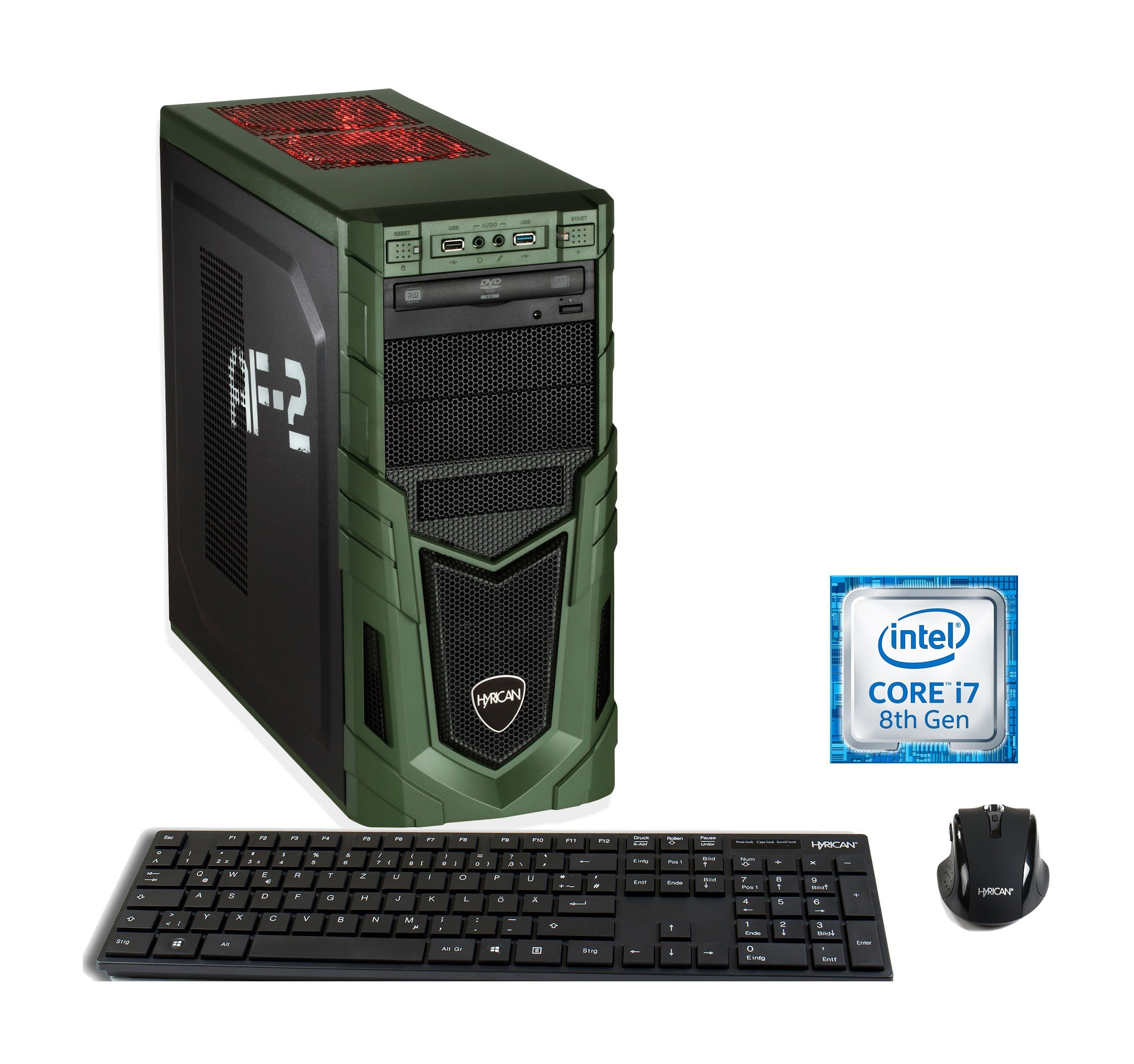 HYRICAN Gaming PC Intel i7-8700 16GB SSD + HDD GeForce RTX 2060 »Military 6195«
