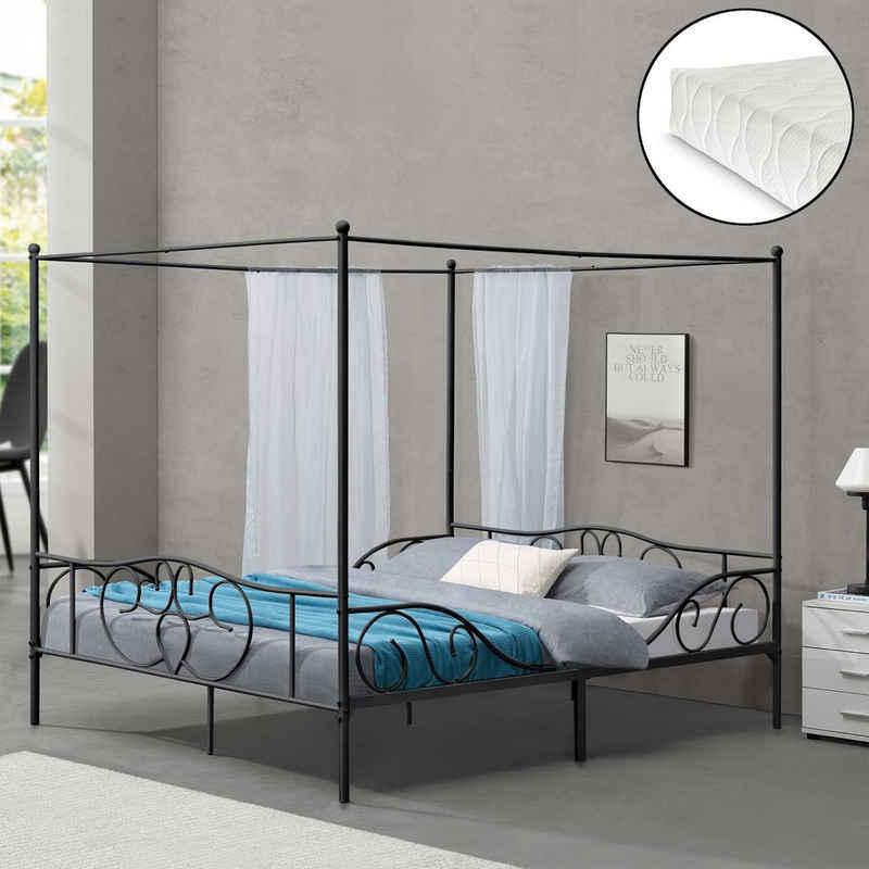 en.casa Himmelbett, »Finström« Metallbett Doppelbett mit Kaltschaummatratze 180x200cm Schwarz