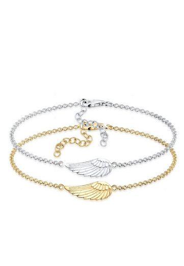 Elli Armband »Erbskette Friends Flügel Bi-Color 925er Silber«
