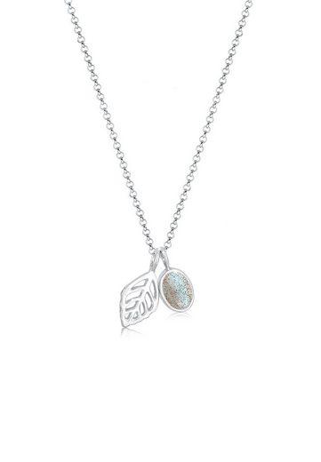 Elli Collierkettchen »Erbskette Blatt und Labradorit Edelstein Silber«