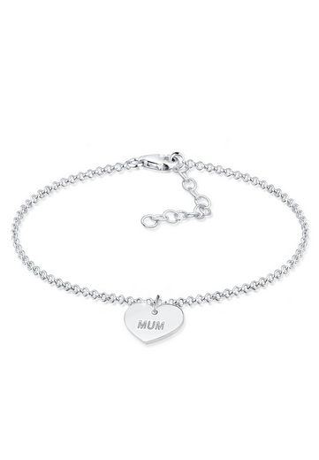 Elli Armband »Erbskette Mum Wording Herz Pendant 925 Silber«