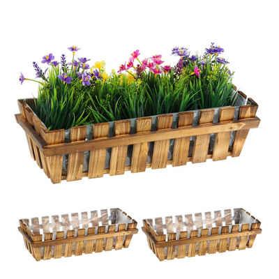 relaxdays Blumenkasten »Blumenkasten Holzzaun 3er Set«, mit Dichtungsfolie