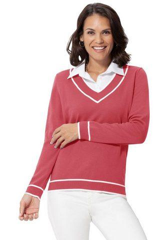 CASUAL LOOKS Megztinis su weißem Bluseneinsatz
