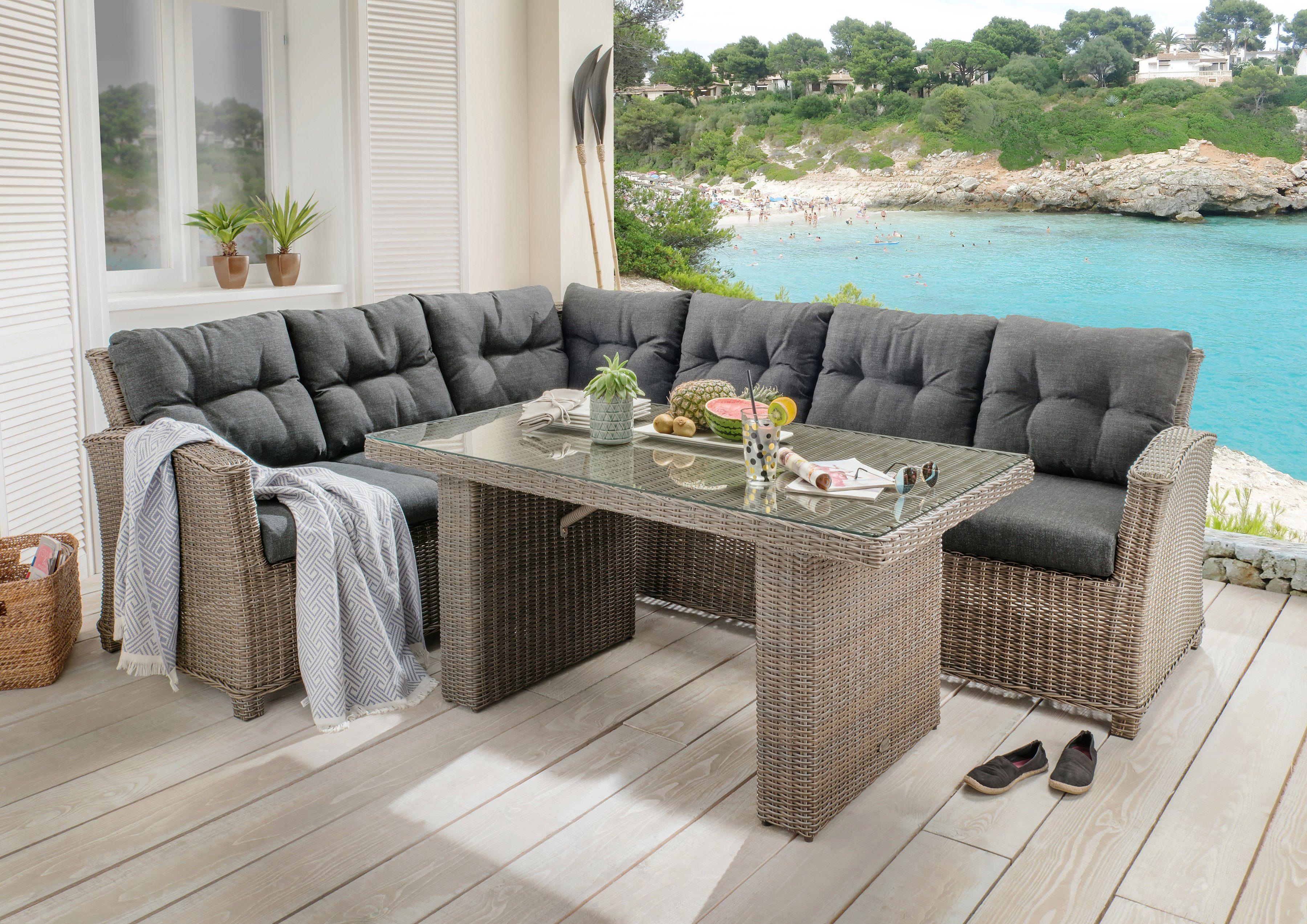 DESTINY Loungeset »RIVIERA«, 15-tlg., 3er-Sofa, Tisch 80x145 cm, Polyrattan