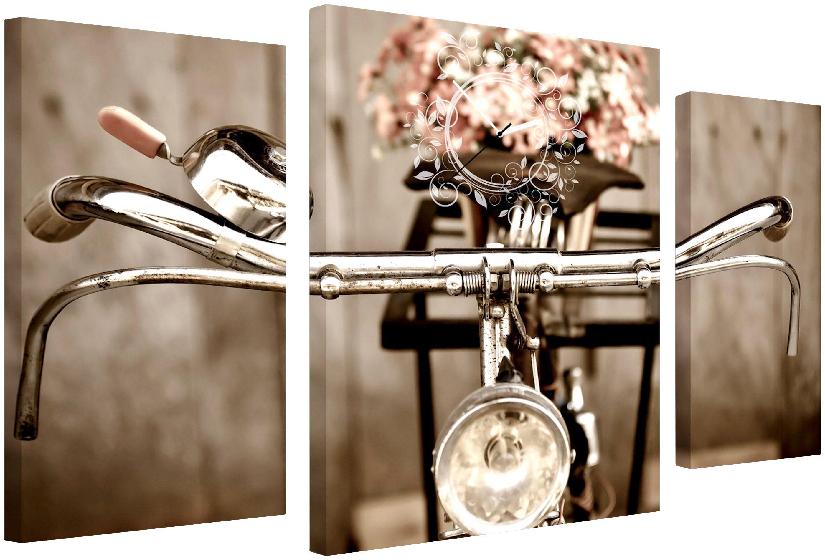 Komplett-Set: Leinwand »Old City Bike«, mit dekorativer Uhr