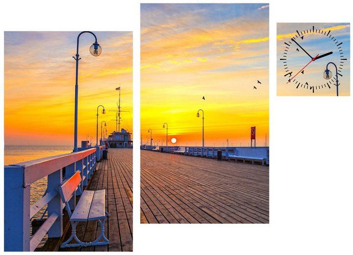 Komplett-Set: Leinwand »Sunset Pier«, mit dekorativer Uhr