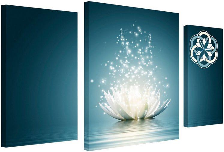 Komplett-Set: Leinwand »Lotus Flower«, mit dekorativer Uhr