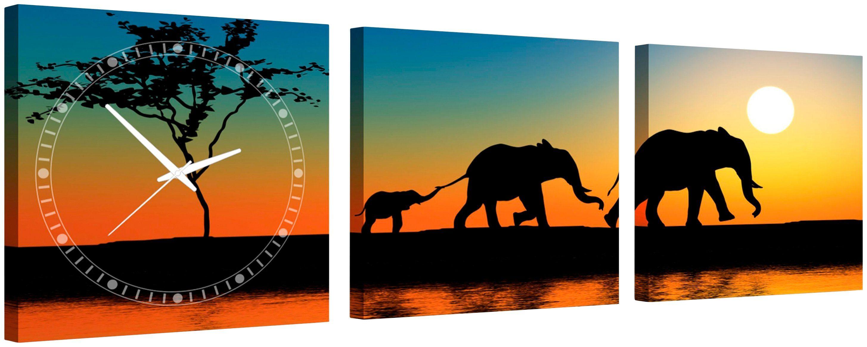 Komplett-Set: Leinwand »Walking Elephants«, mit dekorativer Uhr
