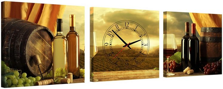 Komplett-Set: Leinwand »Smell of Wine«, mit dekorativer Uhr