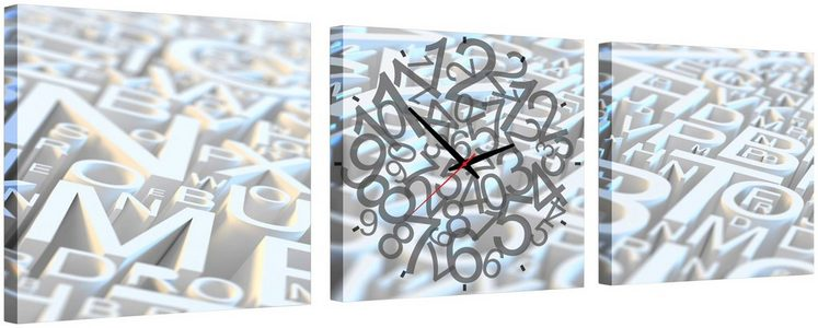 Komplett-Set: Leinwand »Letters«, mit dekorativer Uhr