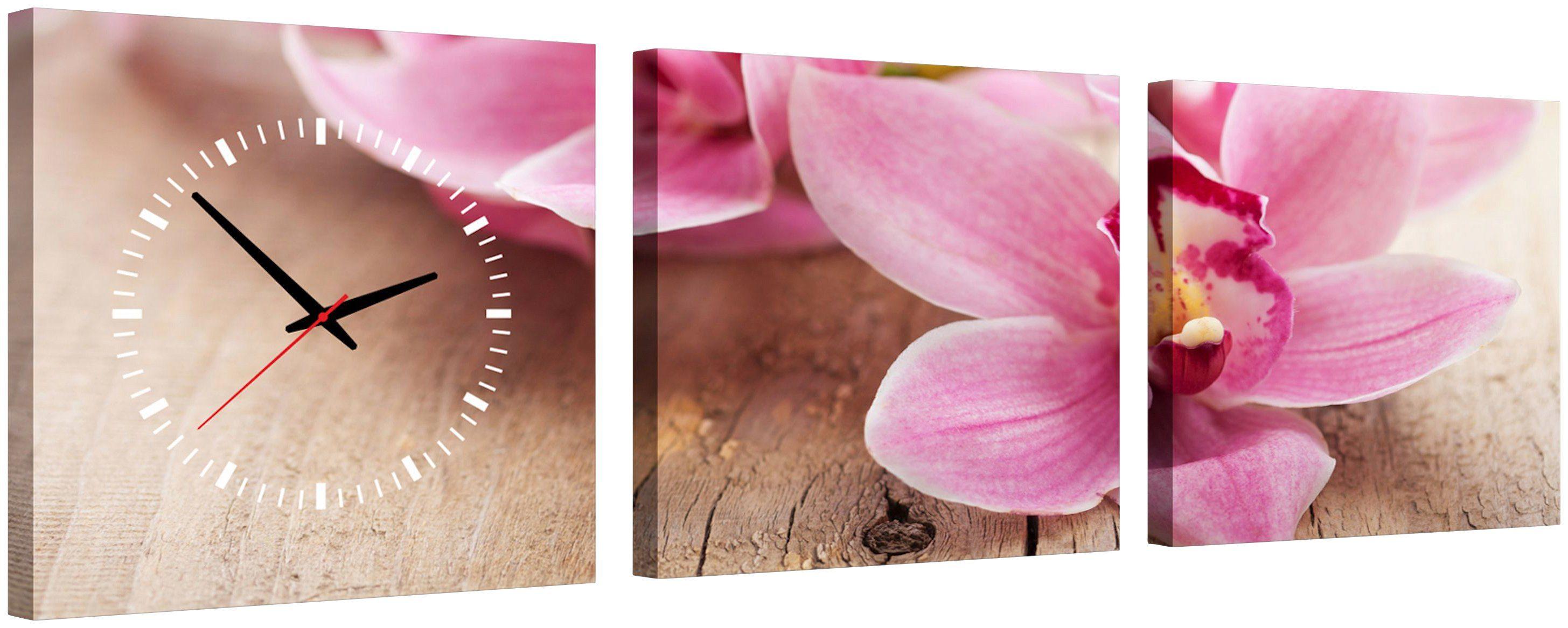 Komplett-Set: Leinwand »Pink Flower«, mit dekorativer Uhr