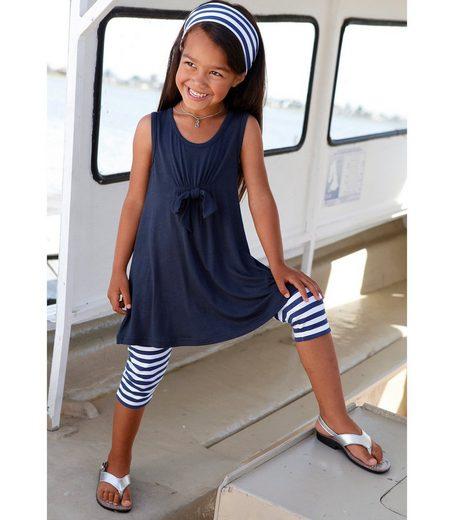 KIDSWORLD Kleid, Leggings & Haarband (Set, 3-tlg) Capri und Haarband maritim geringelt