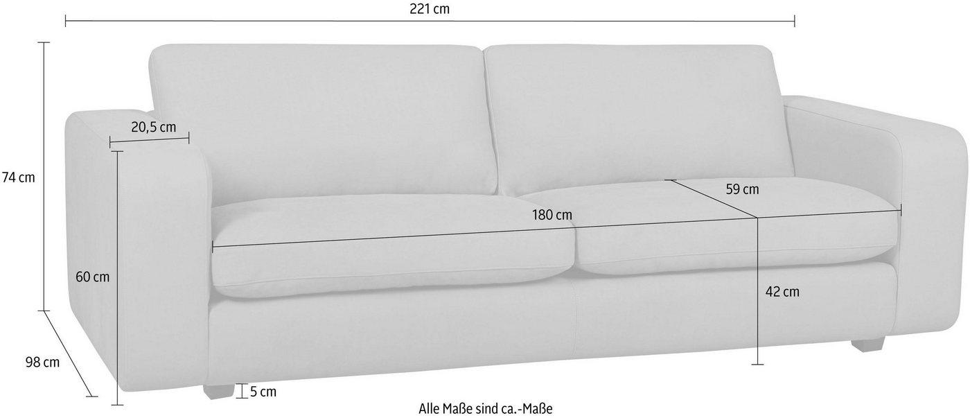machalke® 3-Sitzer Ledersofa »Valentino« mit breiten Armlehnen, Füße schwarz, Breite 221 cm