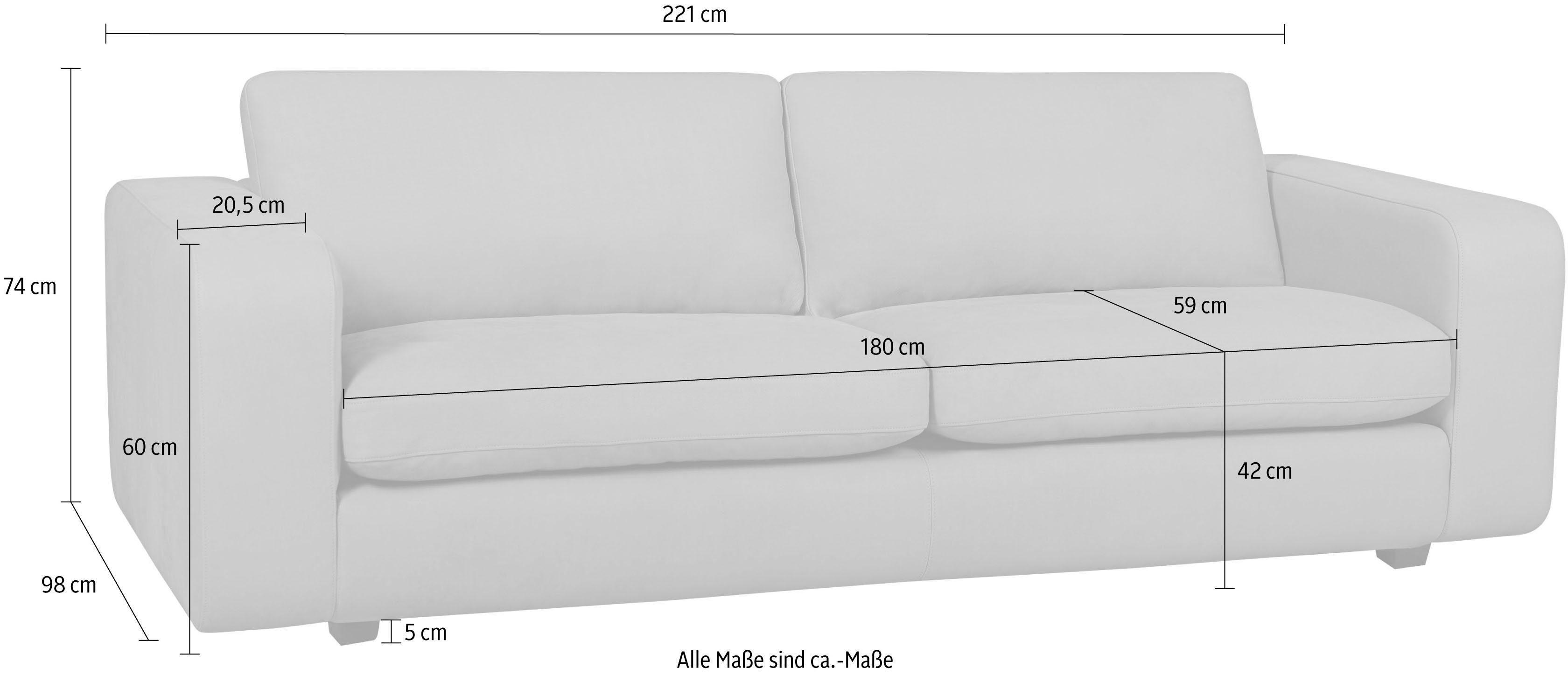 machalke® 3-Sitzer Sofa »Valentino« mit breiten Armlehnen, Füße schwarz, Breite 221 cm