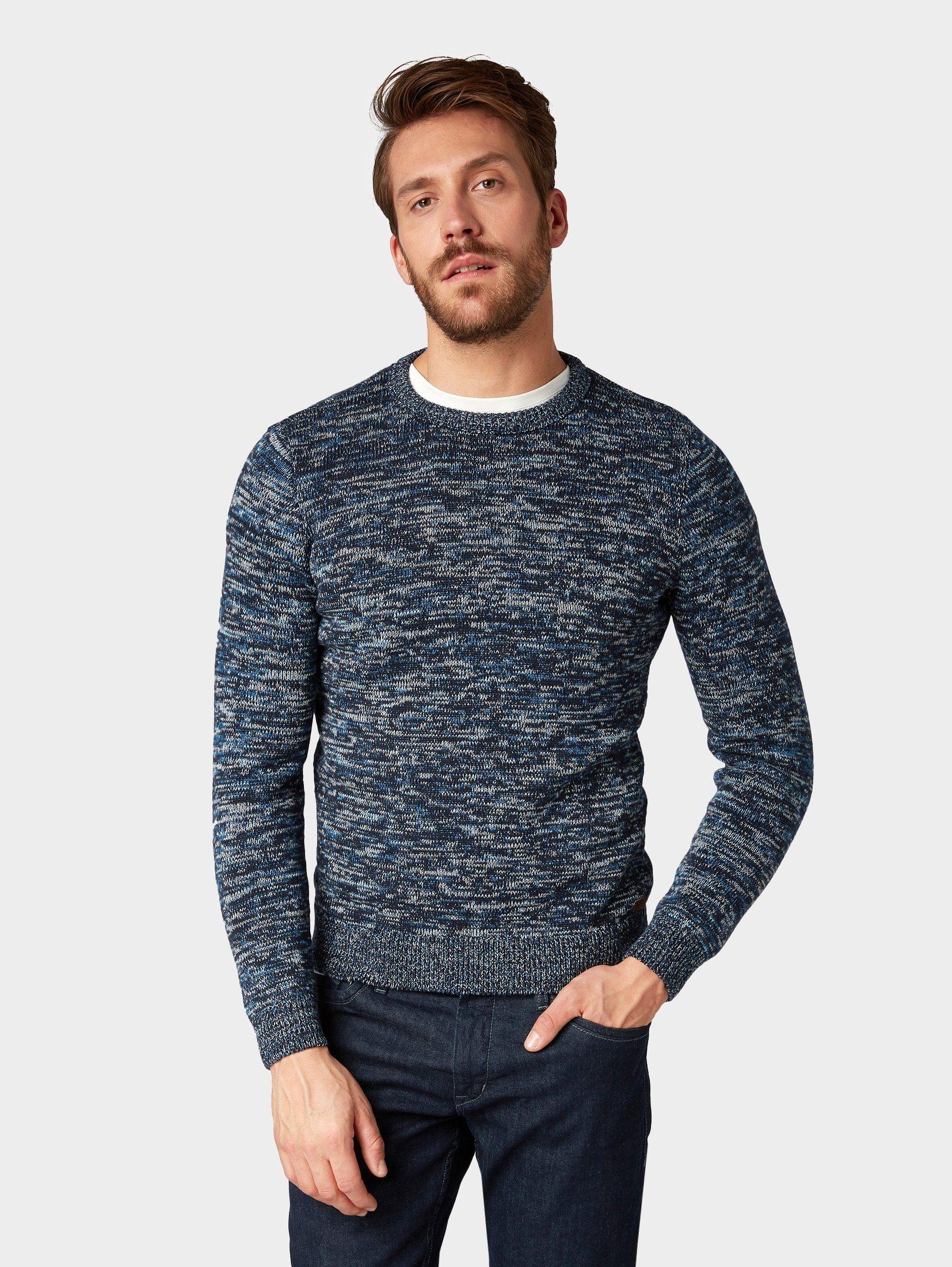 TOM TAILOR Rundhalspullover »Strukturierter Pullover mit Farbverlauf«