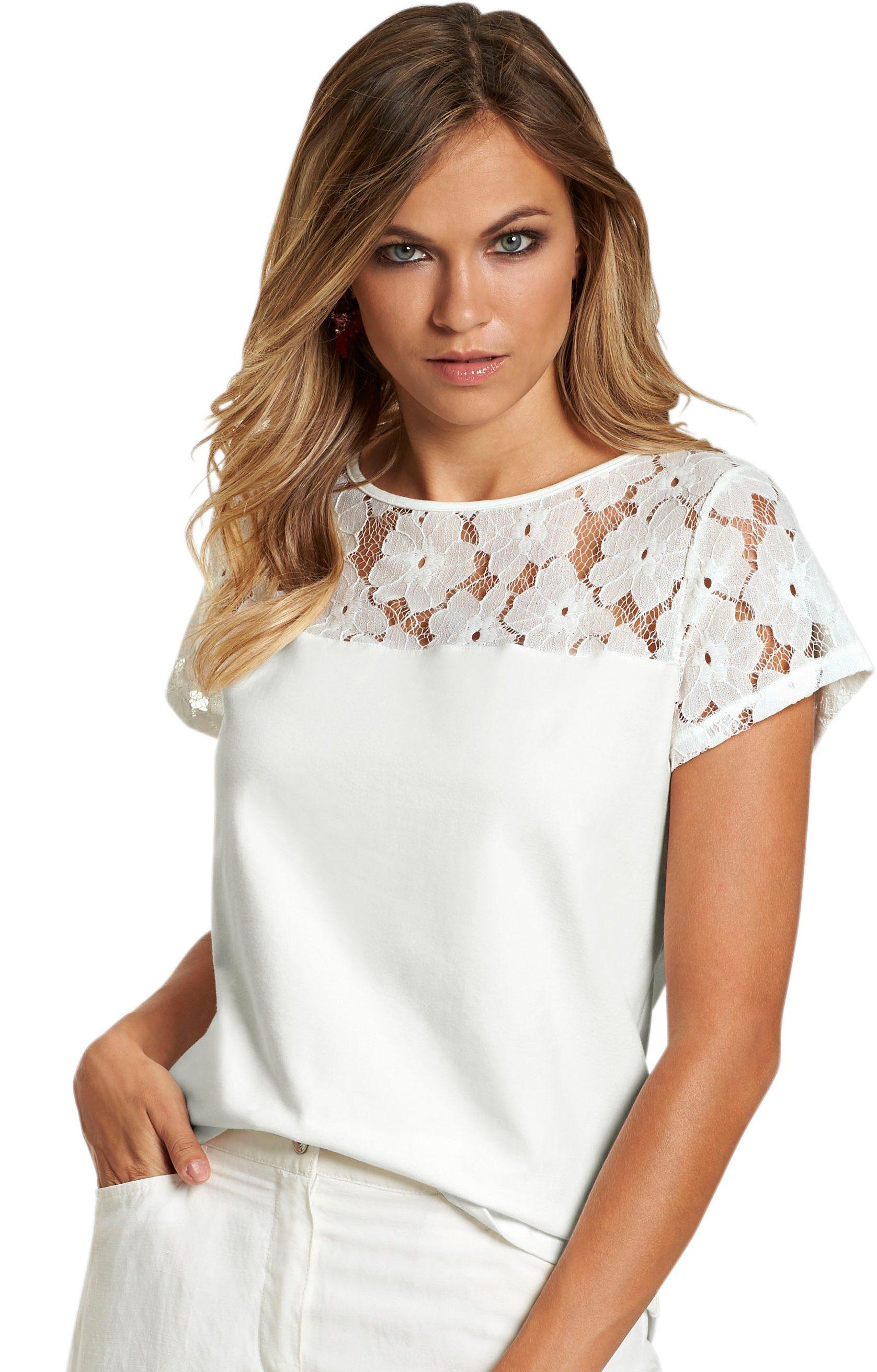 création L Shirt mit floralem Spitzeneinsatz