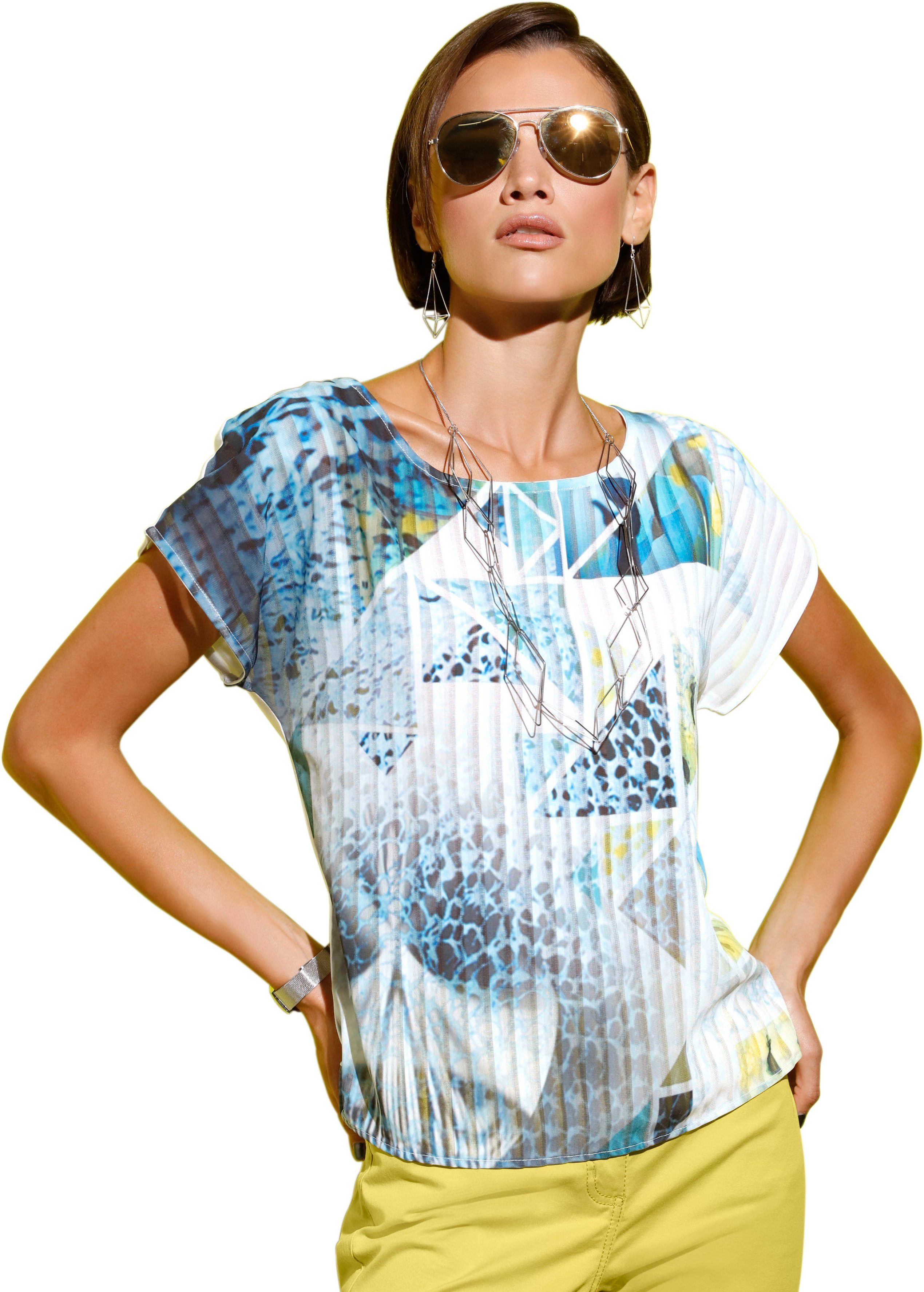 création L Blusenshirt aus kombistark bedrucktem Blusenstoff