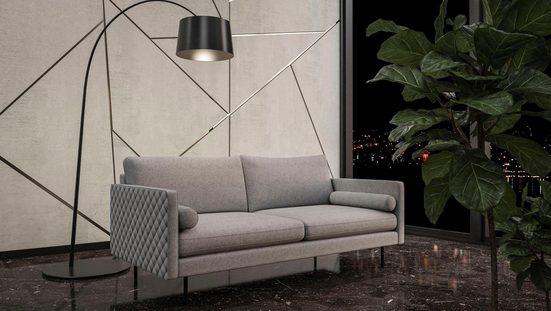 Places of Style 3-Sitzer »Sicilia«, mit losen Kissen und Karosteppung an den Armlehnen