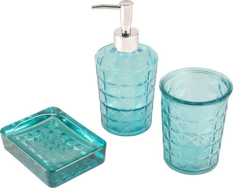 Home affaire Bad-Set, türkis Glas (3-tlg.) kaufen   OTTO