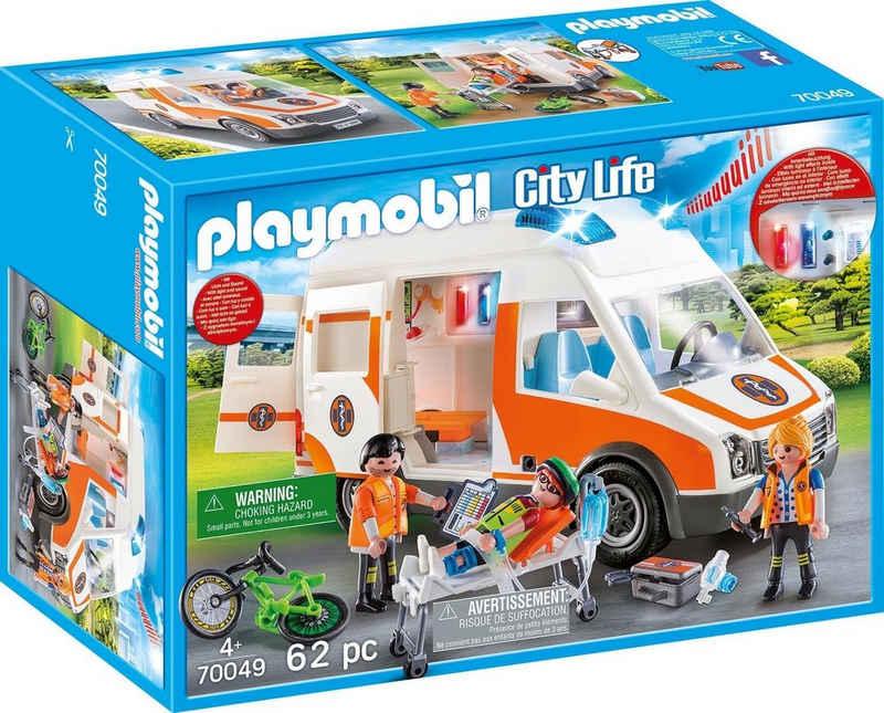 Playmobil® Konstruktions-Spielset »Rettungswagen mit Licht und Sound (70049), City Life«, (62 St), Made in Germany