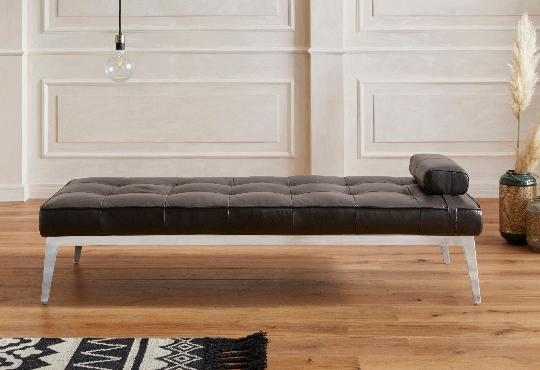 GMK Home & Living Daybed »Limoges« in Naturleder, mit edlem Metallfußgestell