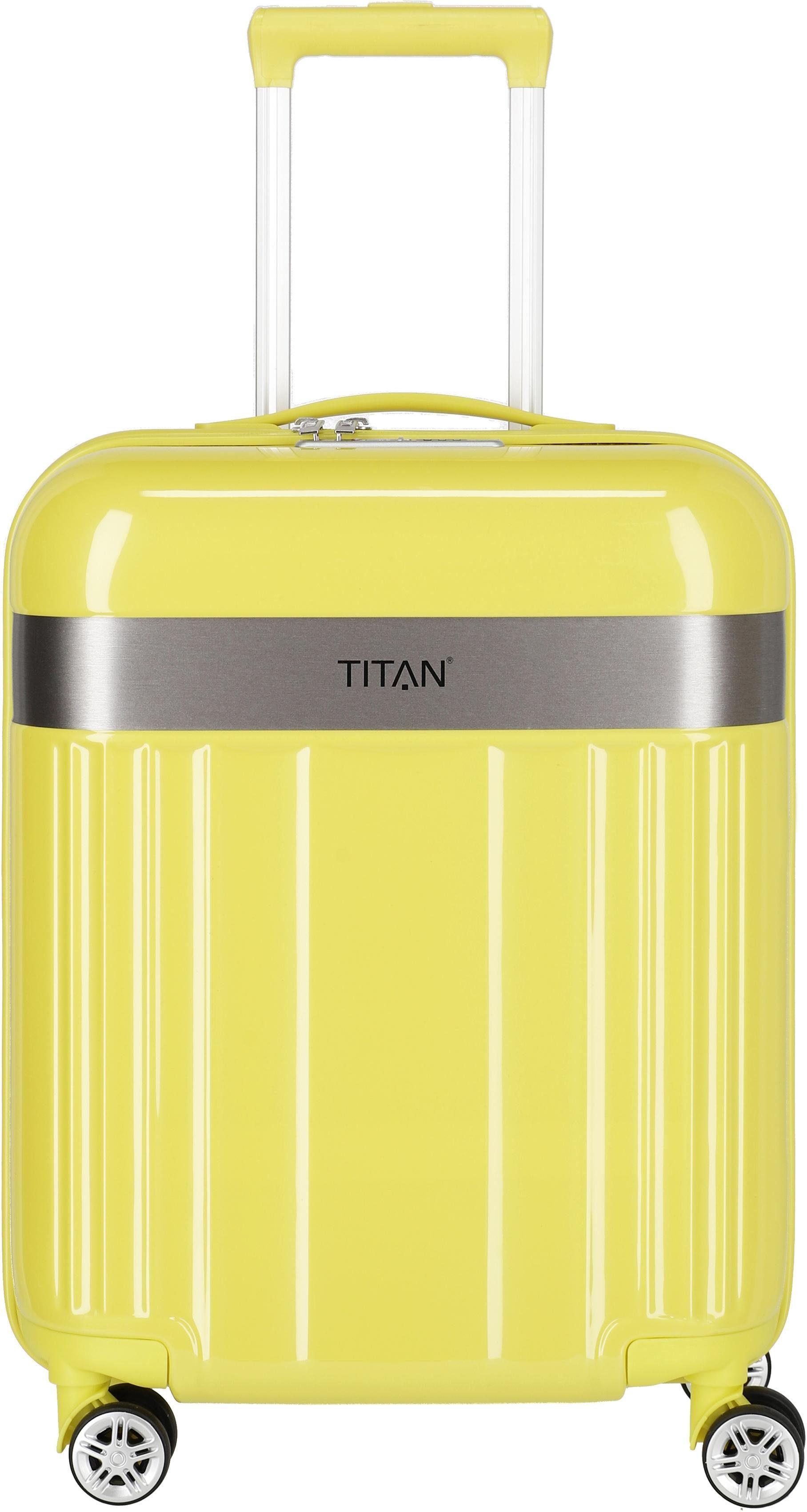 TITAN® Hartschalen-Trolley »Spotlight Flash, Lemon Crush, 55 cm«, 4 Rollen, Germany's next Topmodel ®