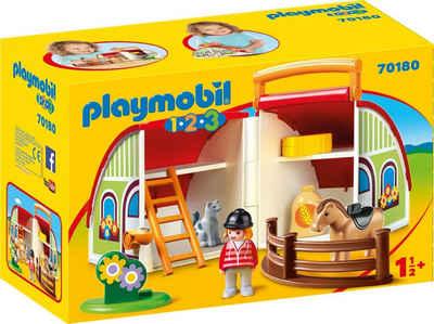 Playmobil® Konstruktions-Spielset »Mein Mitnehm-Reiterhof (70180), Playmobil 1-2-3«, Made in Europe