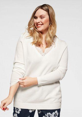 Пуловер с V-образным вырезом с Spitzeneinsatz на вырез