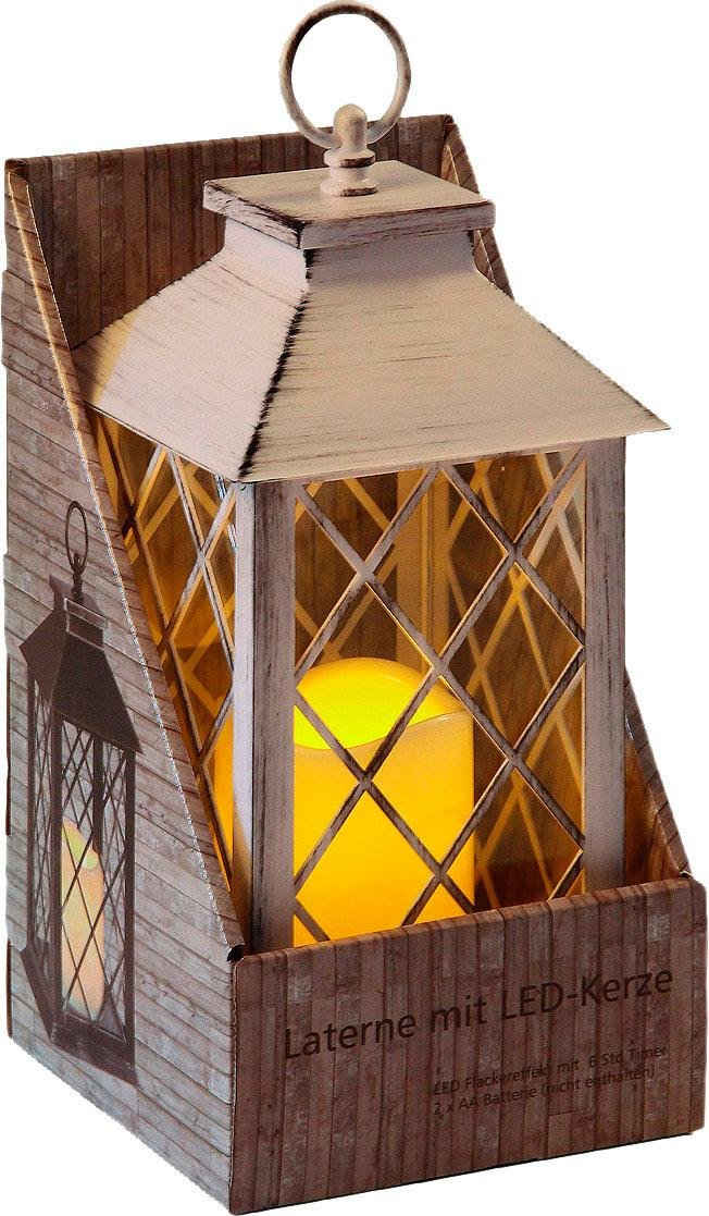 Home affaire Kerzenlaterne, inkl. LED-Kerze, antikweiß, mit 6 Stunden Timer