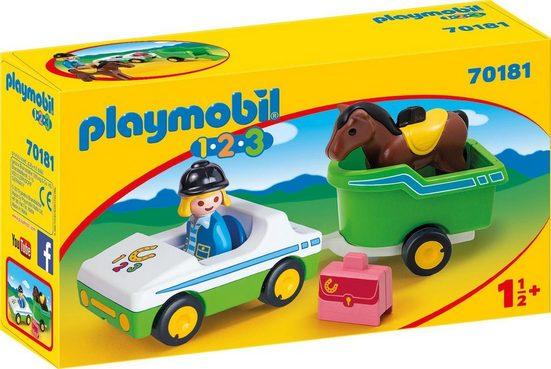 Playmobil® Konstruktions-Spielset »PKW mit Pferdeanhänger (70181), Playmobil 1-2-3«, Made in Europe