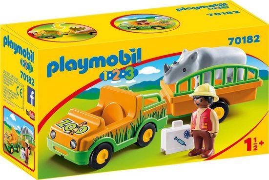 Playmobil® Konstruktions-Spielset »Zoofahrzeug mit Nashorn (70182), Playmobil 1-2-3«, Made in Europe