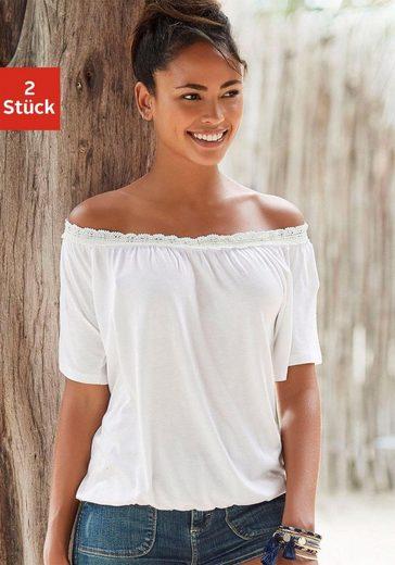 Beachtime Carmenshirt (2er-Pack) mit elastischer Häkelspitze am Ausschnitt
