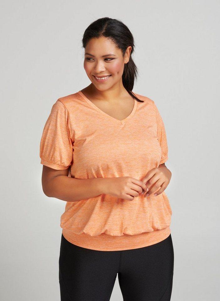 Zizzi Funktionsbluse Damen Sport Shirt Kurzarm Quick Dry Trainings Oberteil Große Größen | Bekleidung > Blusen > Funktionsblusen | Orange | Zizzi