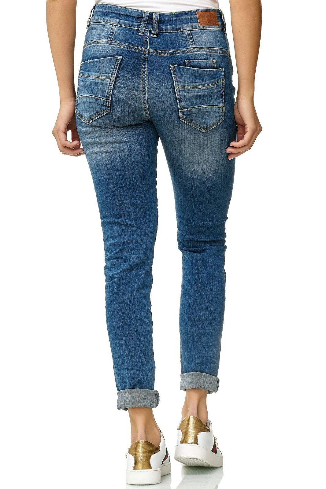 KAYAMARA Jeanshose in Used-Optik