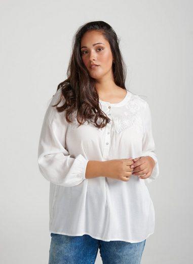 ZAY Hemdbluse Damen Bluseshirt Langarm Blusen Elegant Stickerei Shirt Große Größen