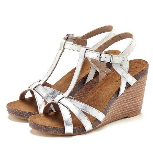 LASCANA Sandalette aus Leder mit Keilabsatz
