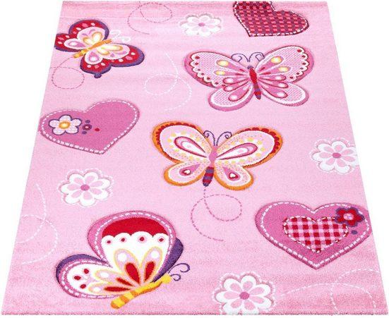 Kinderteppich »Diamond 642«, Paco Home, rechteckig, Höhe 18 mm, Kurzflor, 3D-Kinder Schmetterling Herzen Design