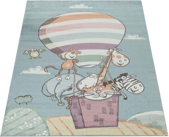 Kinderteppich »Capri 310«, Paco Home, rechteckig, Höhe 14 mm, Kurzflor, kunterbunte verspielte Zootiere