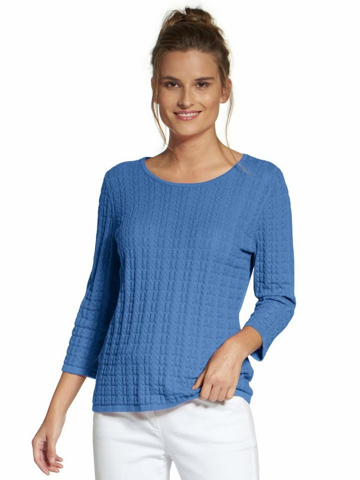 Basler 3/4 Arm-Pullover »Rundhals-Pullover« Butterly-Struktur | Bekleidung > Pullover > 3/4 Arm-Pullover | Blau | Basler