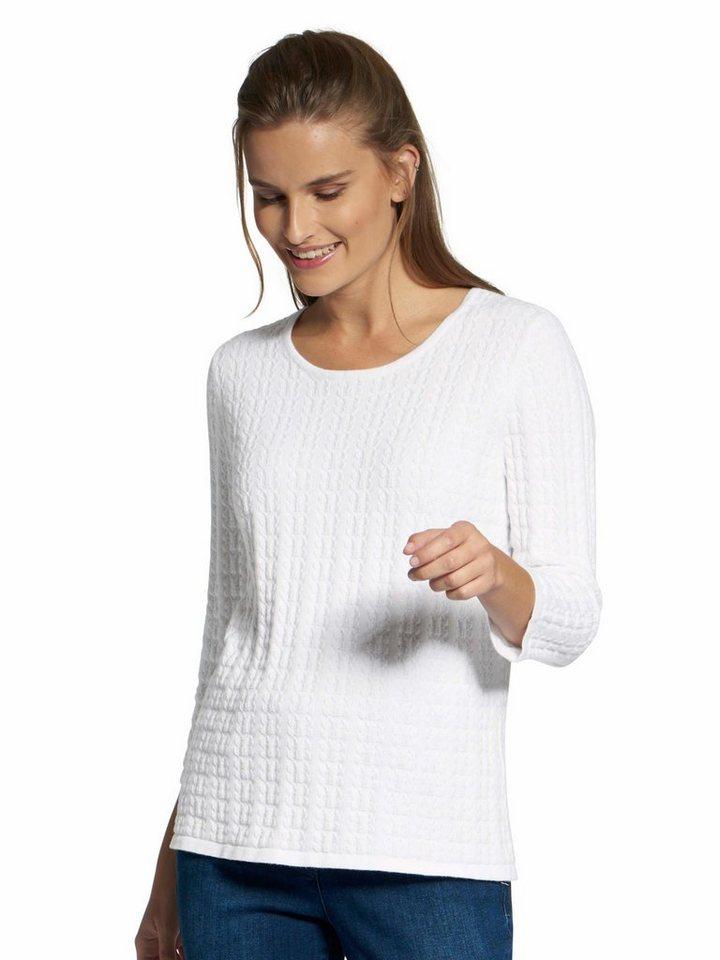 Basler 3/4 Arm-Pullover »in Butterly-Struktur«   Bekleidung > Pullover > 3/4 Arm-Pullover   Weiß   Basler