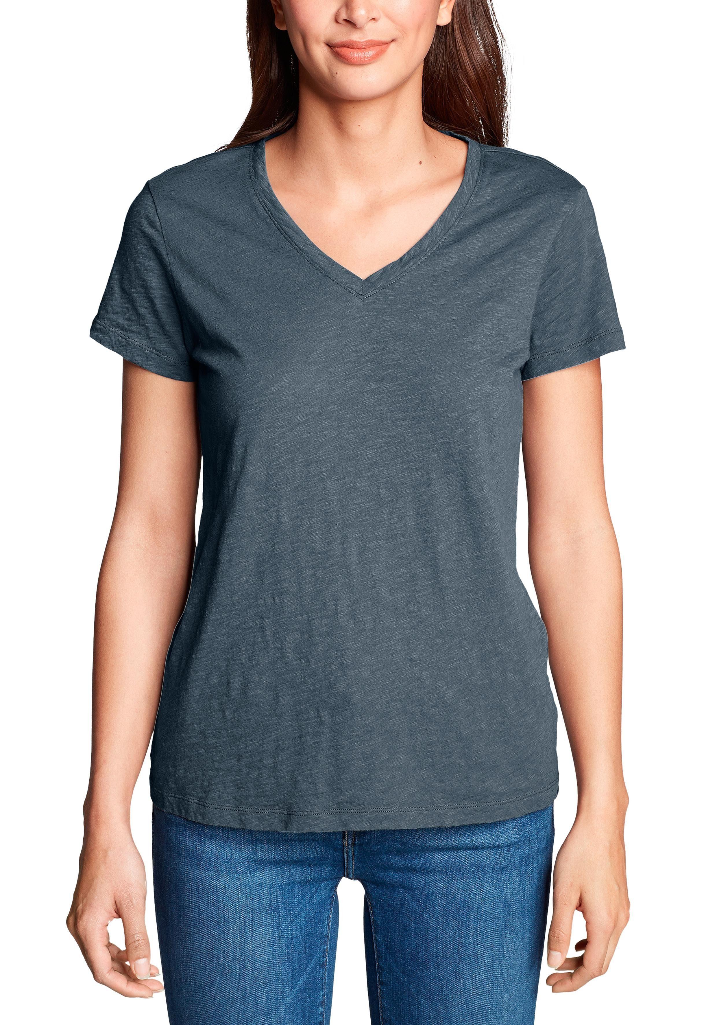 Eddie Bauer T-Shirt Legend Wash Slub Shirt - Kurzarm mit V-Ausschnitt